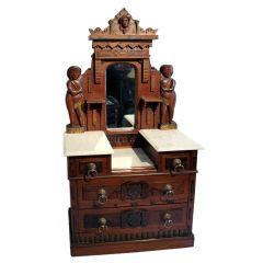 American Folk Miniature Chest, Carved Native American Figures
