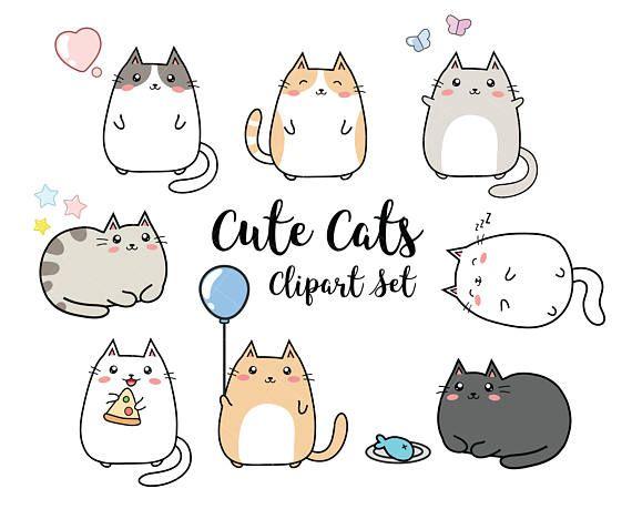 Vector Clipart Kawaii Cats Cute Cats Clipart Set High Quality Vectors Instant Download Kawaii Cats Clipart 300dpi Png Cat Clipart Cute Doodles Cat Doodle