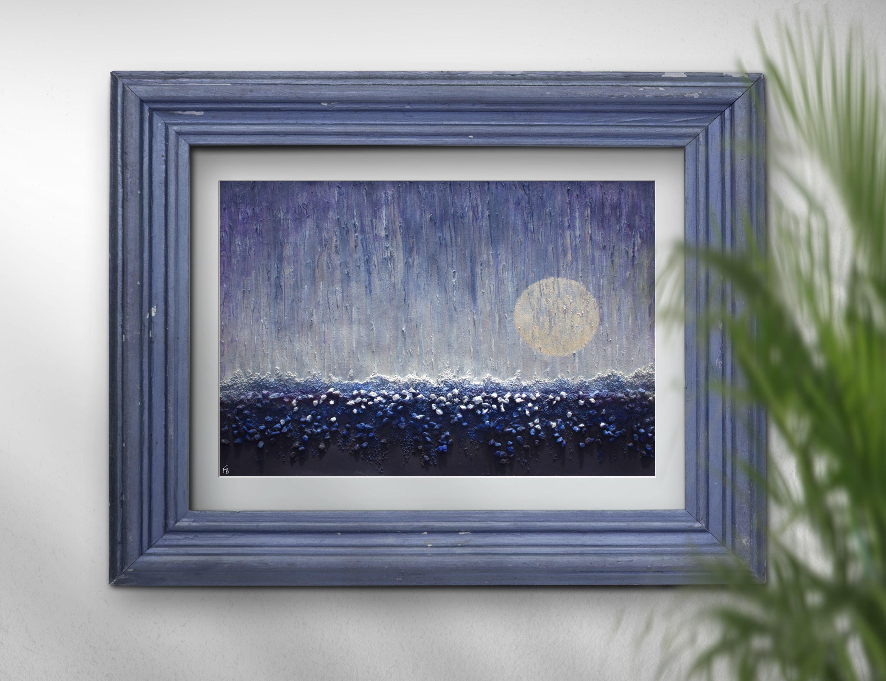 New moonus rising moon art painting original by frabor mixed