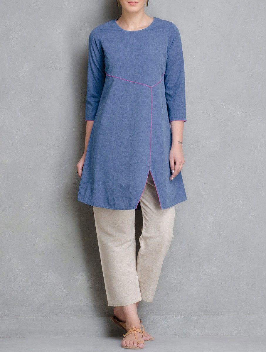 Buy Blue Pink Indigo Dyed Round Neck Cotton Tunic Women Tunics ...