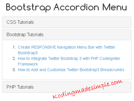 Creating Bootstrap Accordion Menu With Example Twitter Bootstrap 3