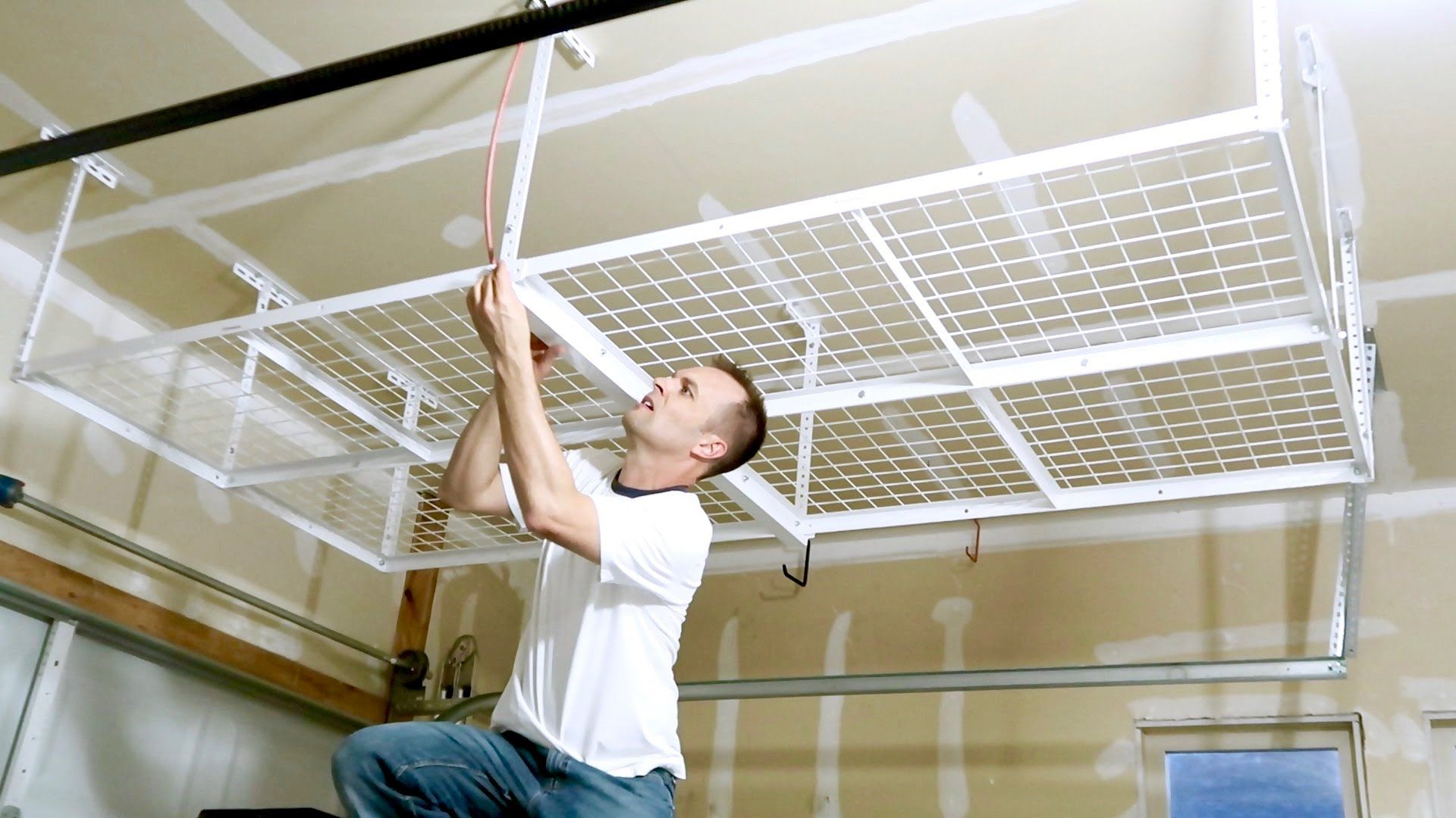 How To Install A Overhead Garage Storage Rack Ceiling