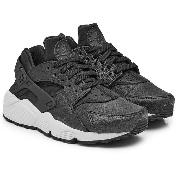 online store a6022 bea95 Nike Air Huarache Sneakers ( 150) ❤ liked on Polyvore featuring shoes,  sneakers, black, chunky sneakers, slip on trainers, chunky shoes, black  sneakers and ...