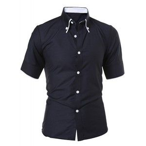 Simple Style Turn Down Collar Solid Color Short Sleeve Men s ...