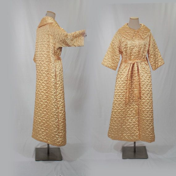 338a836320 Quilted Satin Robe 60s Housecoat Long Bathrobe by MadCrushVintage