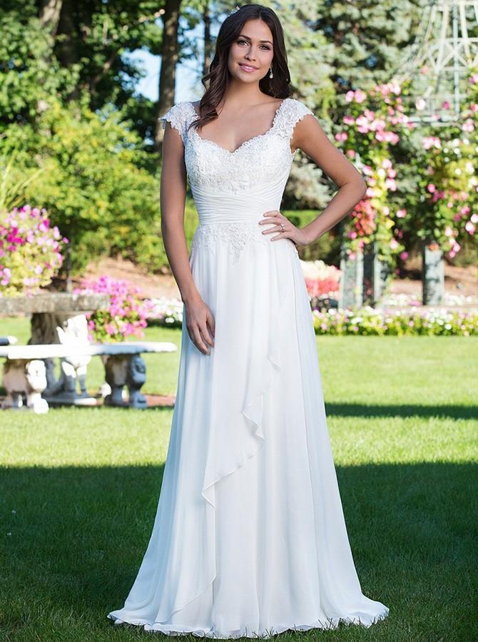 ALine Scoop Cap Sleeves Chiffon Beach Wedding Dress with