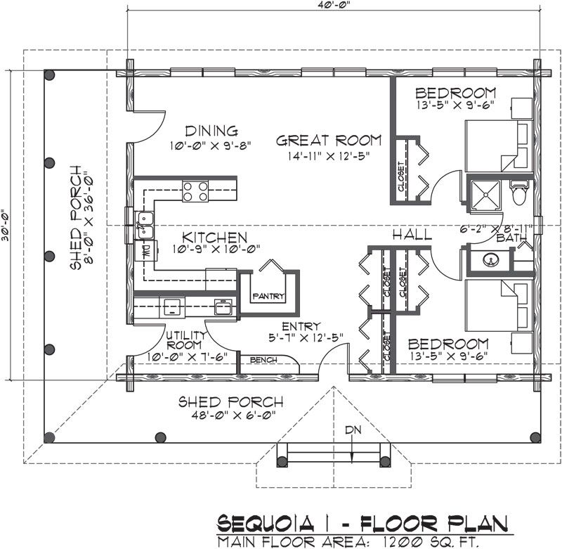Single story open floor plans for One story log house plans