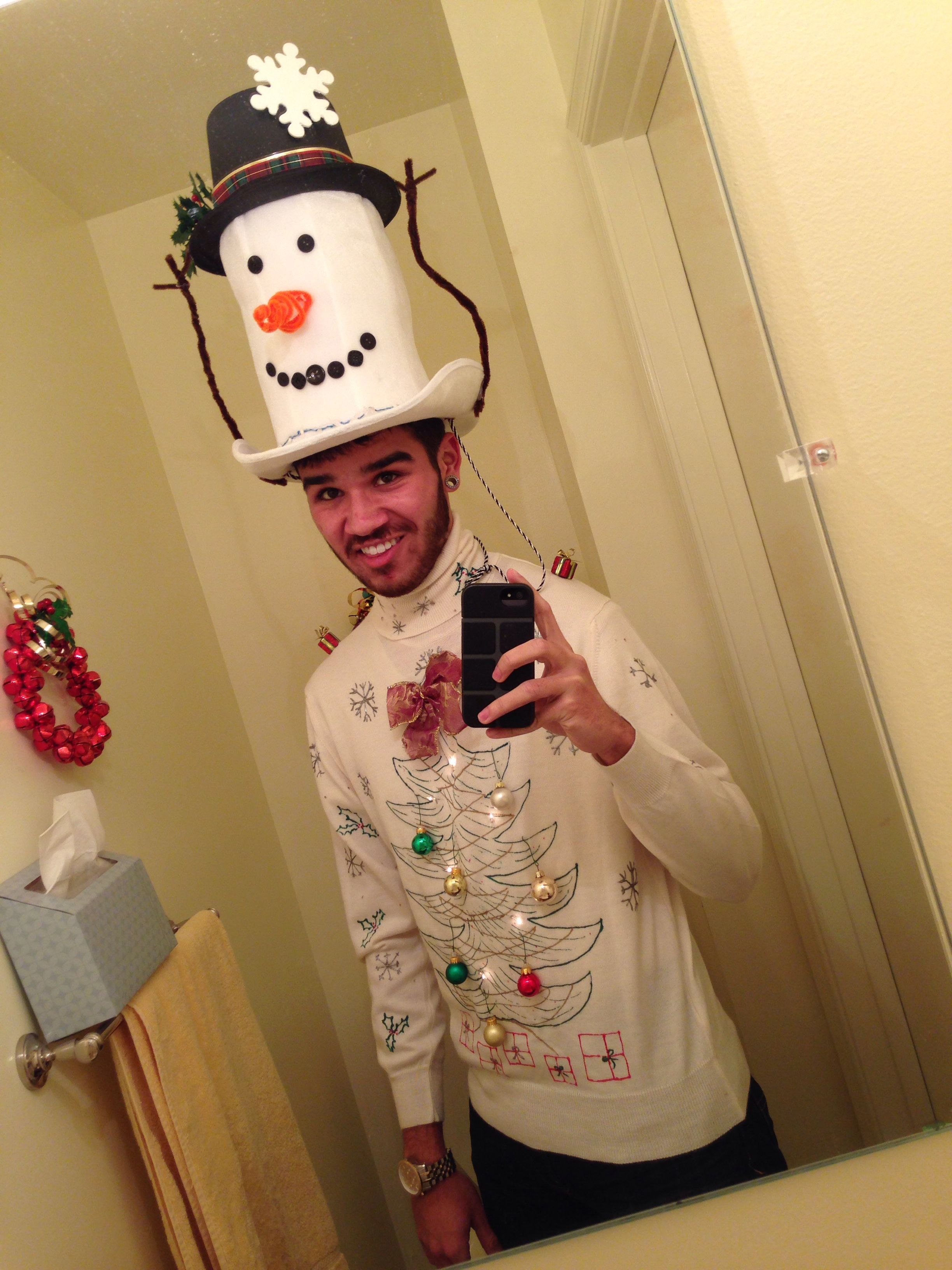 Awesome snowman hat accessory for your ugly Christmas sweater!