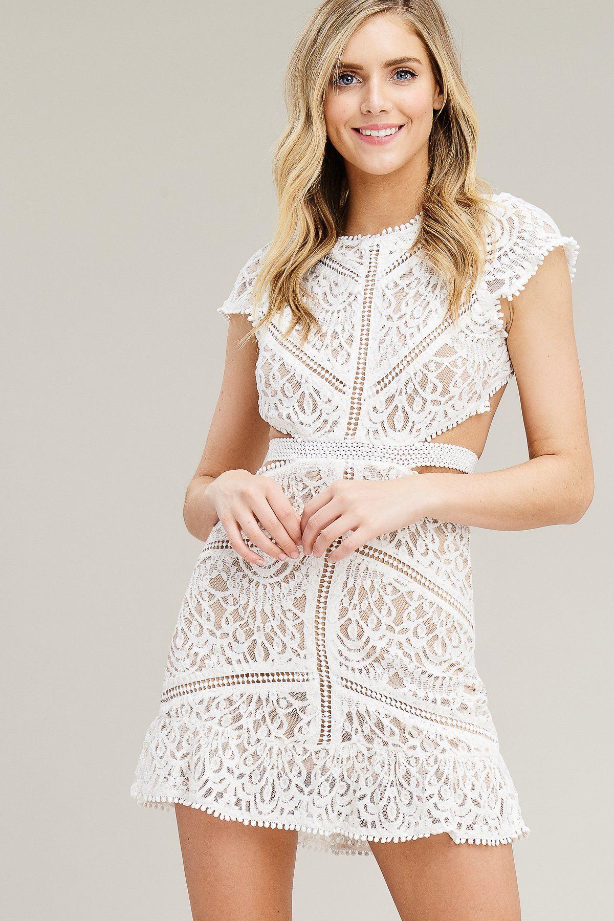 Claire Lace Cutout Dress Final White Lace Mini Dress Cutout Dress White Lace Dress Short