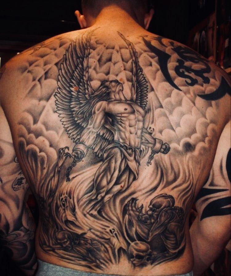 Pin De Julio Cesar Em Anjos Tatuagem Nas Costas Masculina