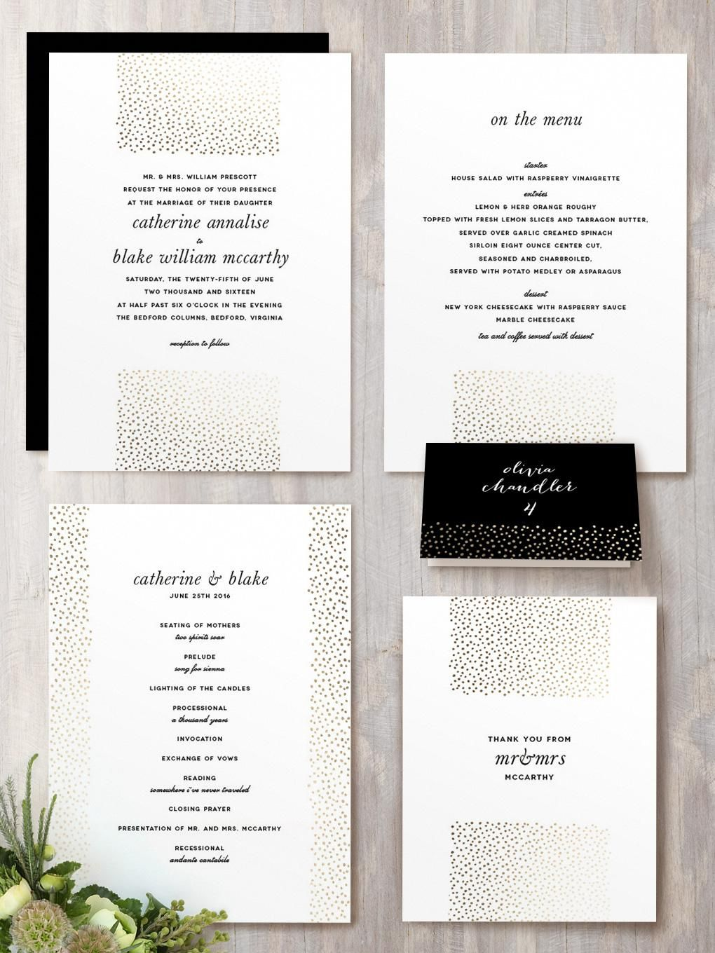 Delicate Dots Wedding Invitation Suite with Gold Foil on White Letterpress by Minted Artist  Ashley Hegarty