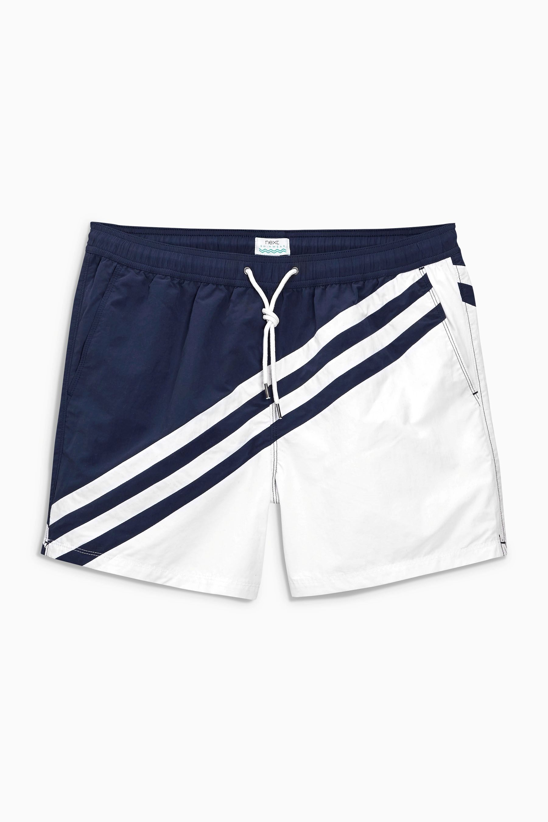 f637f9ebcbd07 Buy Navy/White Colourblock Swim Shorts from the Next UK online shop ...