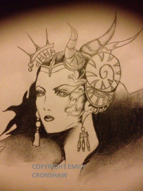 Another drawing, Edea from Final Fantasy VIII- would so get her as a tattoo!