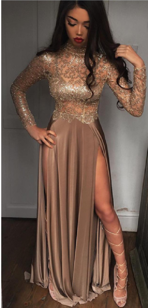 55ec6770aa41 High Neck Champagne Gold Sexy Evening Dress Splits Long Sleeve Illusion  Prom Dress