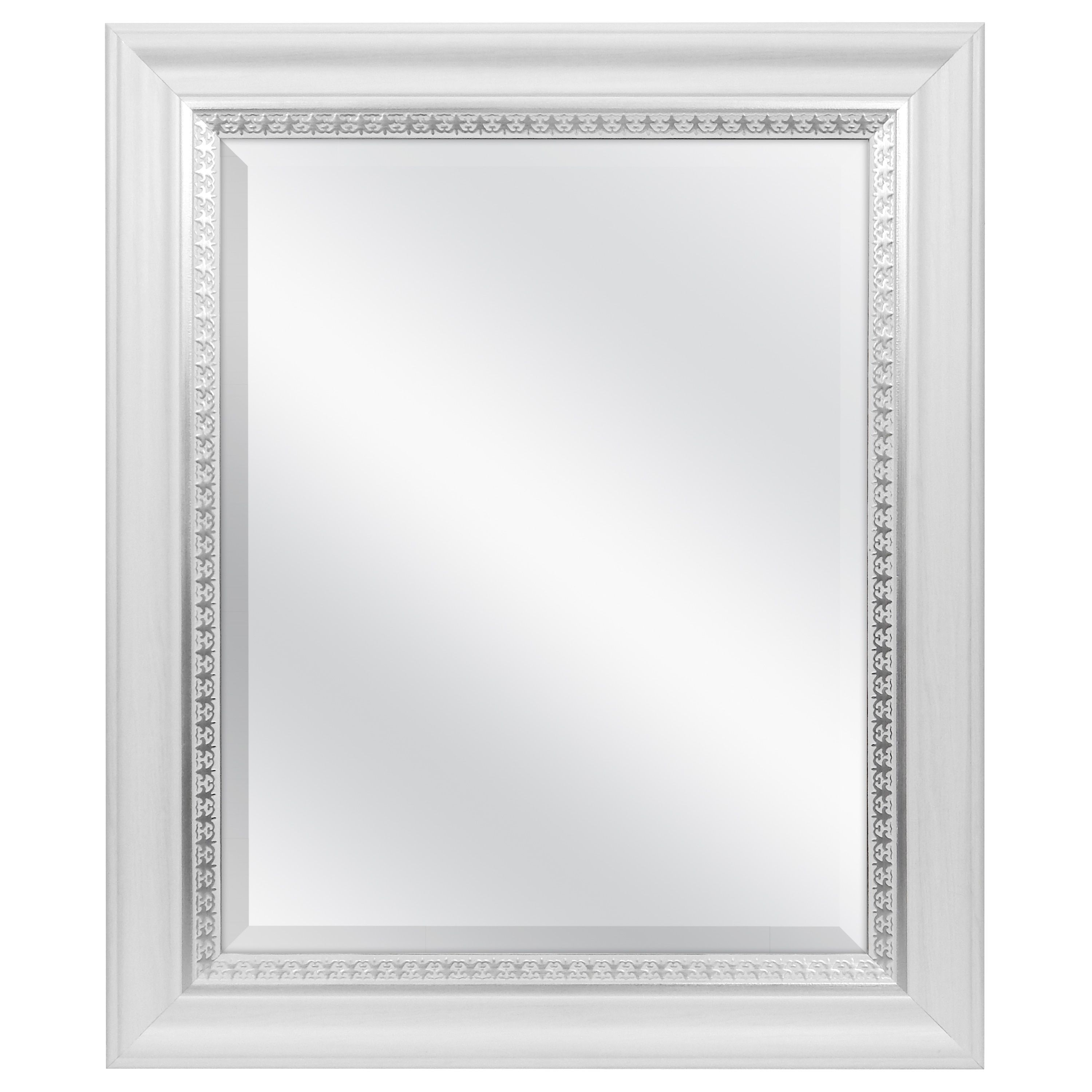 Mcs Industries White Woodgrain Wall Mirror With Silver Leaf Accent W