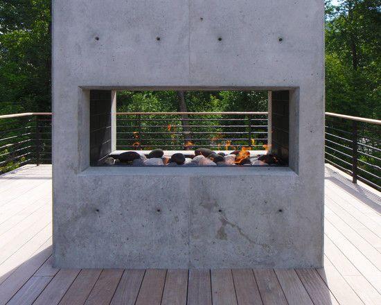 square concrete fireplace Villa Resort Striking Residence