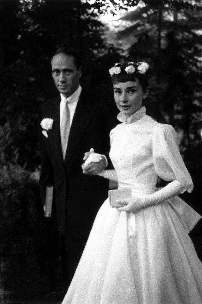 Timeless Audrey Hepburn In Tea Length Wedding Dress Audrey Hepburn Wedding Audrey Hepburn Wedding Dress Celebrity Wedding Photos