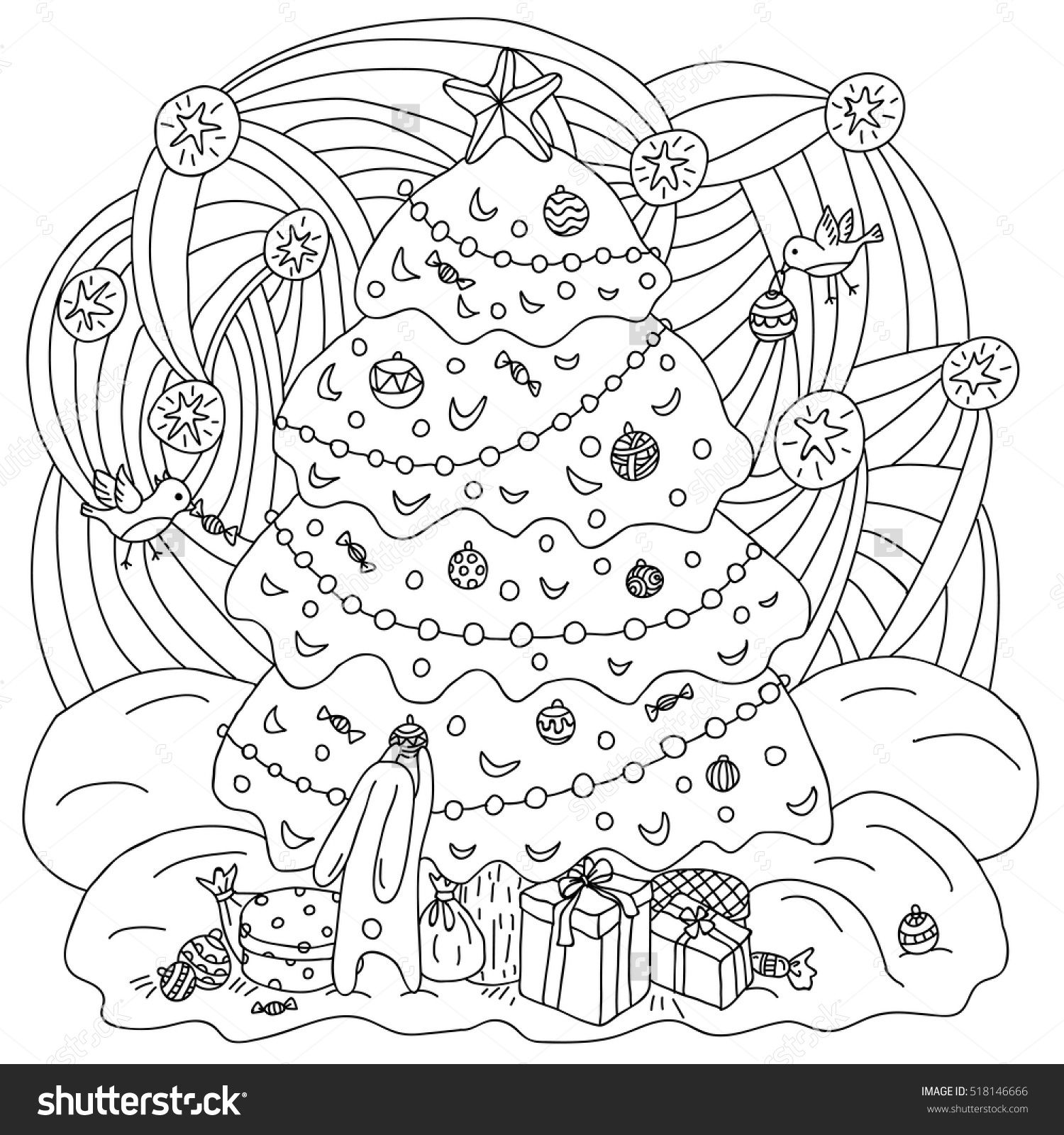 Coloring book xmas theme gift card hare and birds adorn the