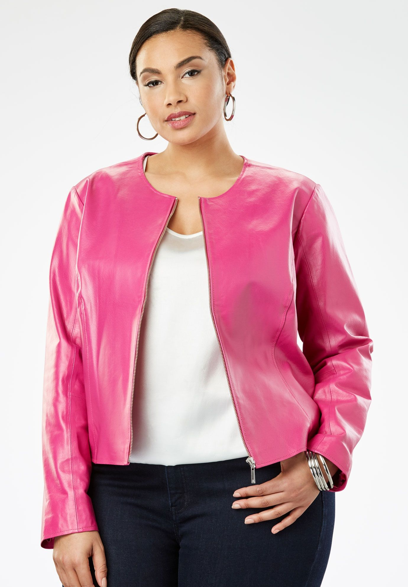 Collarless Leather Jacket, BERRY Collarless leather