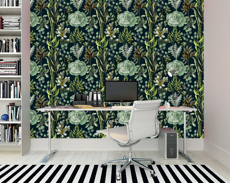 Floral Pattern In Vintage Style Leaves Of Ferns Blackberry Etsy Green Home Decor Removable Wallpaper Large Mural