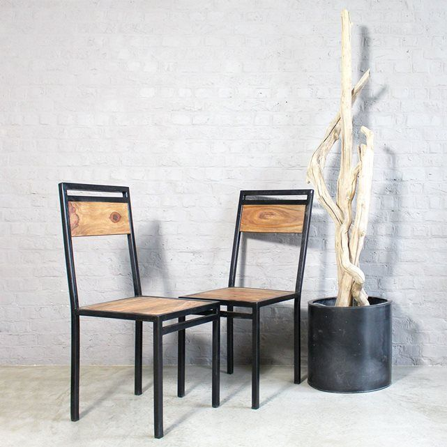 Chaise Industrielle Metal Et Bois Colore Ref Moxch Avec Images