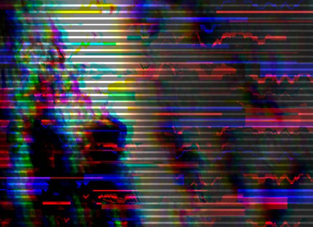 Glitch Background. Computer Screen Error. Digital Pixel