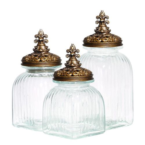 Bathroom Canister Set Delectable Found It At Wayfair  Glass Polystone 3 Piece Kitchen Canister Set Decorating Inspiration