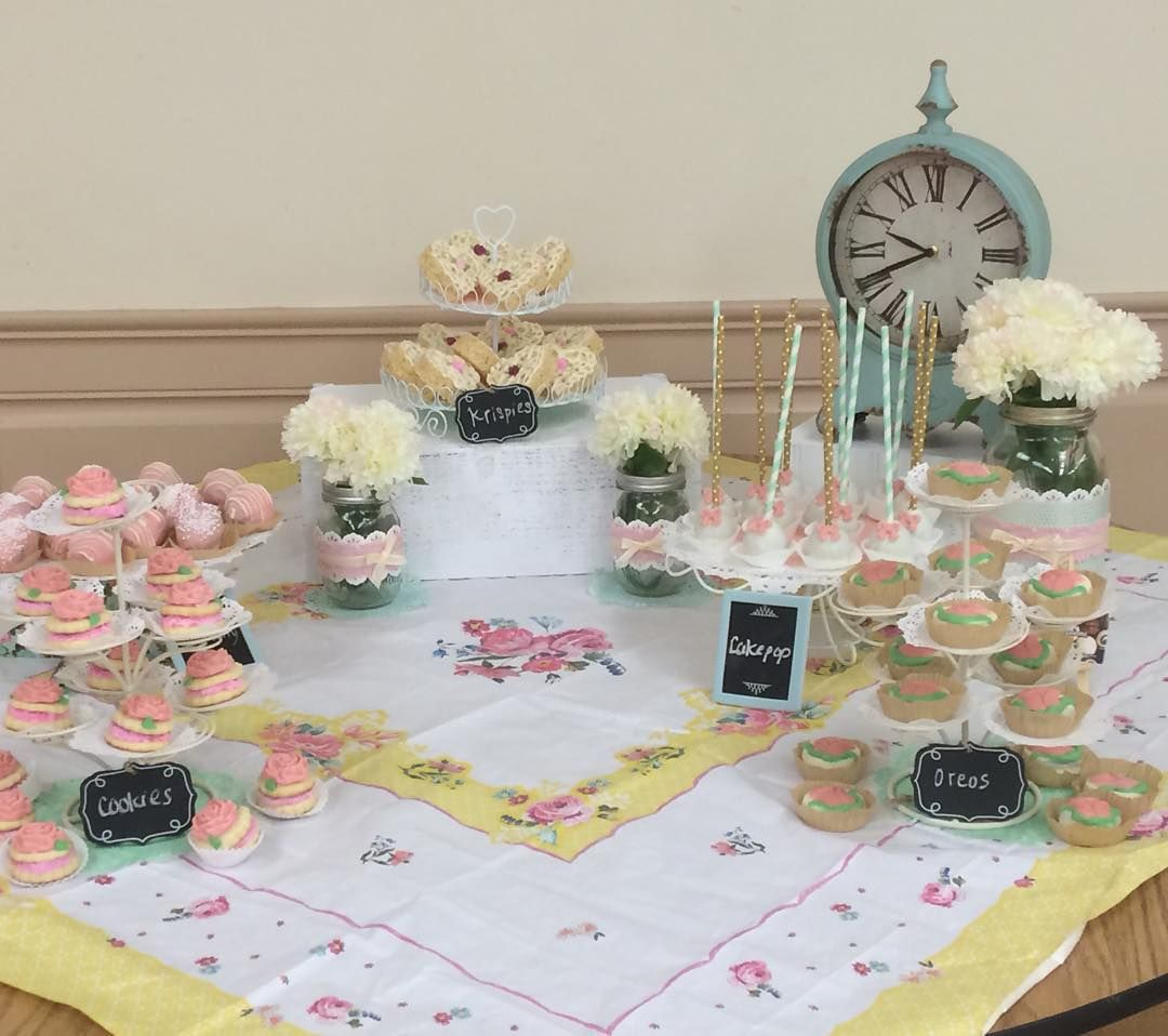 TEA PARTY! #desserttable #alwaystimefortea #cakepops #sugarcookies #chocolatecoveredoreos #chocolatecoveredstrawberries #flowers #roses #carnations #clock #chocolate #pink #party