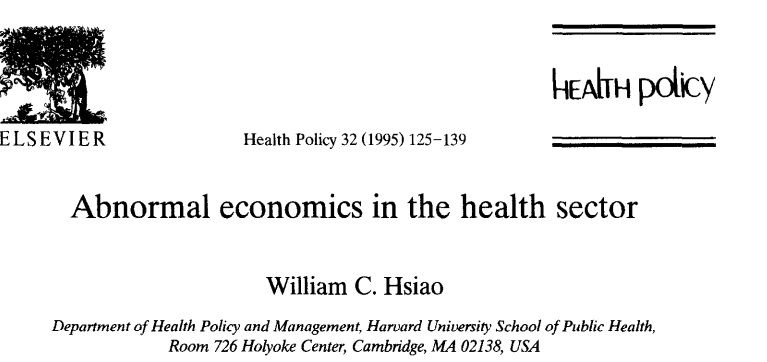 Paper on health care in markets