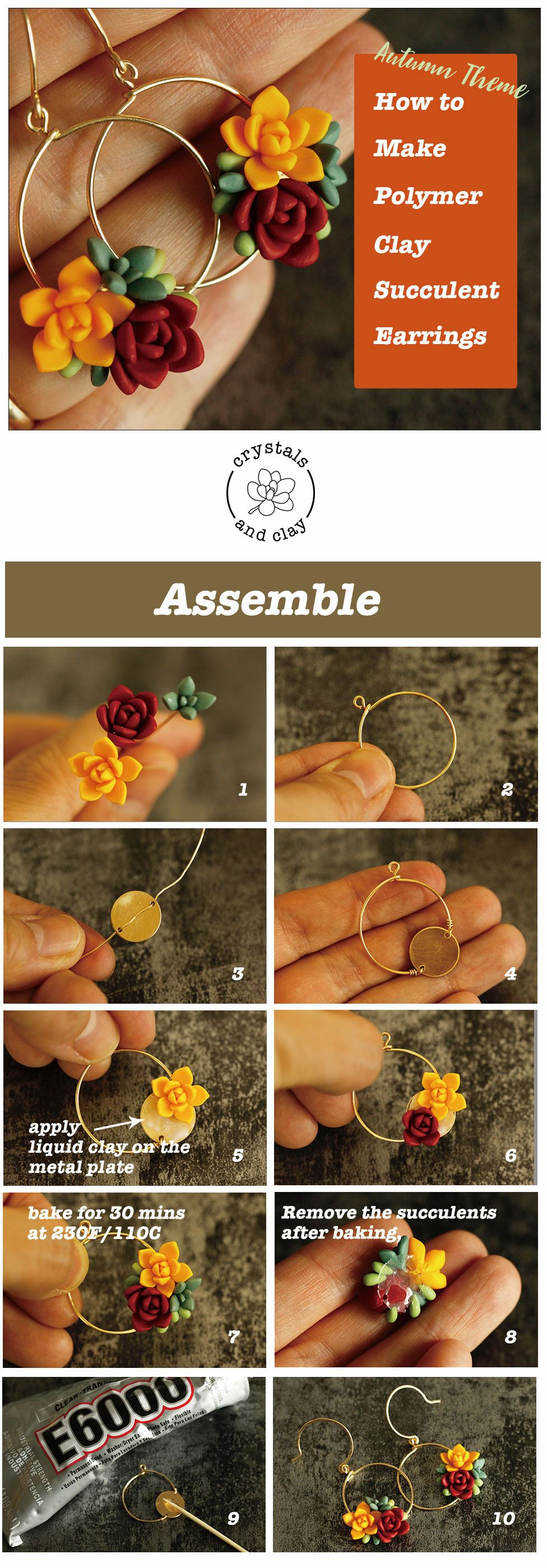 Photo of how to make polymer clay autumn theme succulent earrings