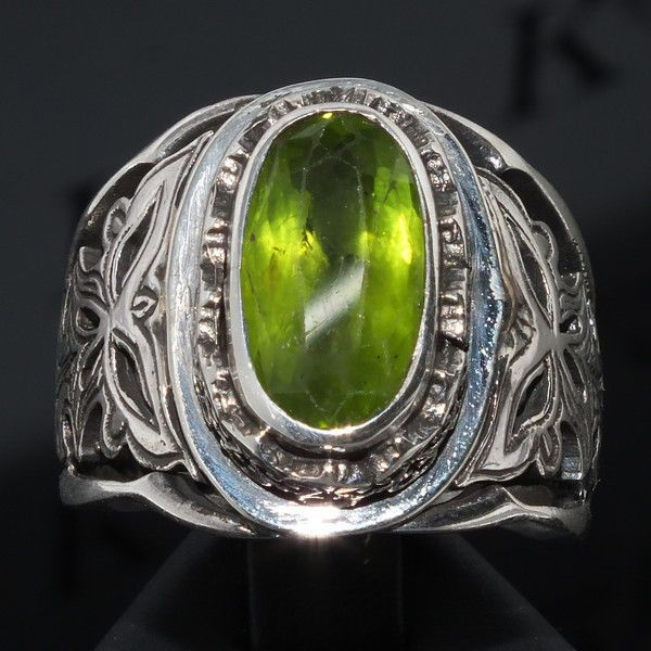 Silver Ring Peridot Men Sterling 925 natural gemstone Mens Jewelry Zabarjad #KaraJewels #Handcrafted