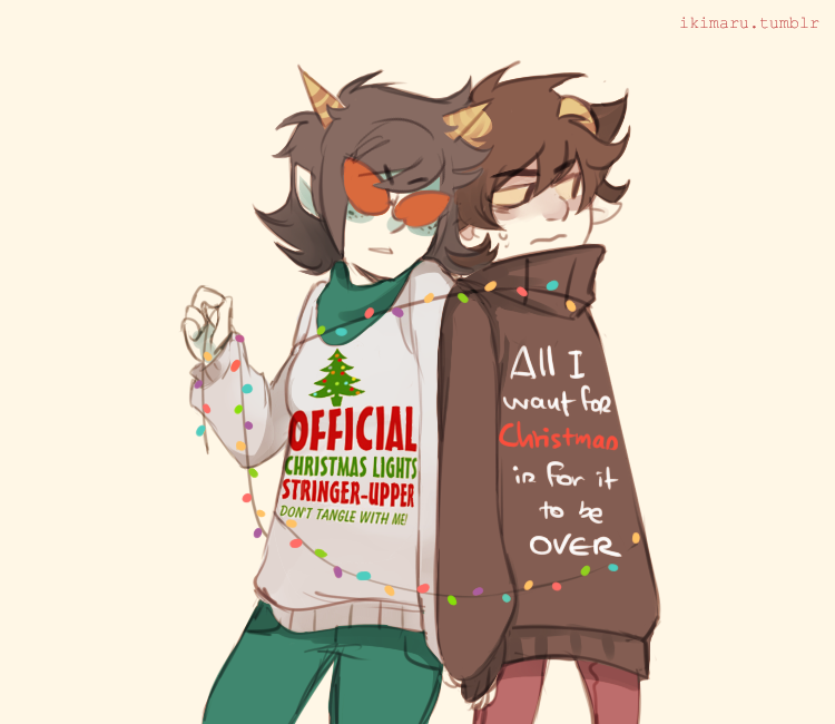 there's no escape from Christmas sweaters >^) Anime