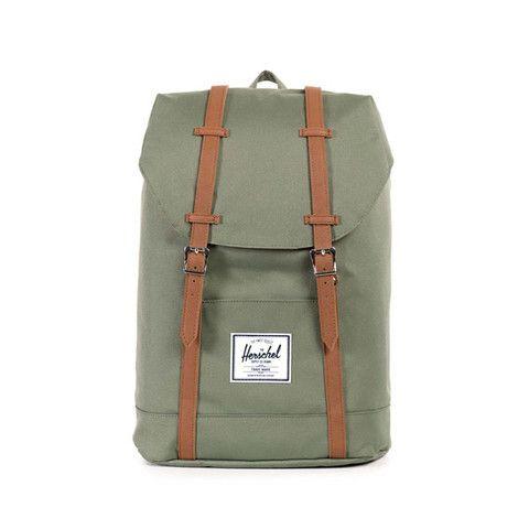 f521c8331c0cb Herschel Retreat Backpack p Deep Lichen Green Tan Synthetic Leather ...