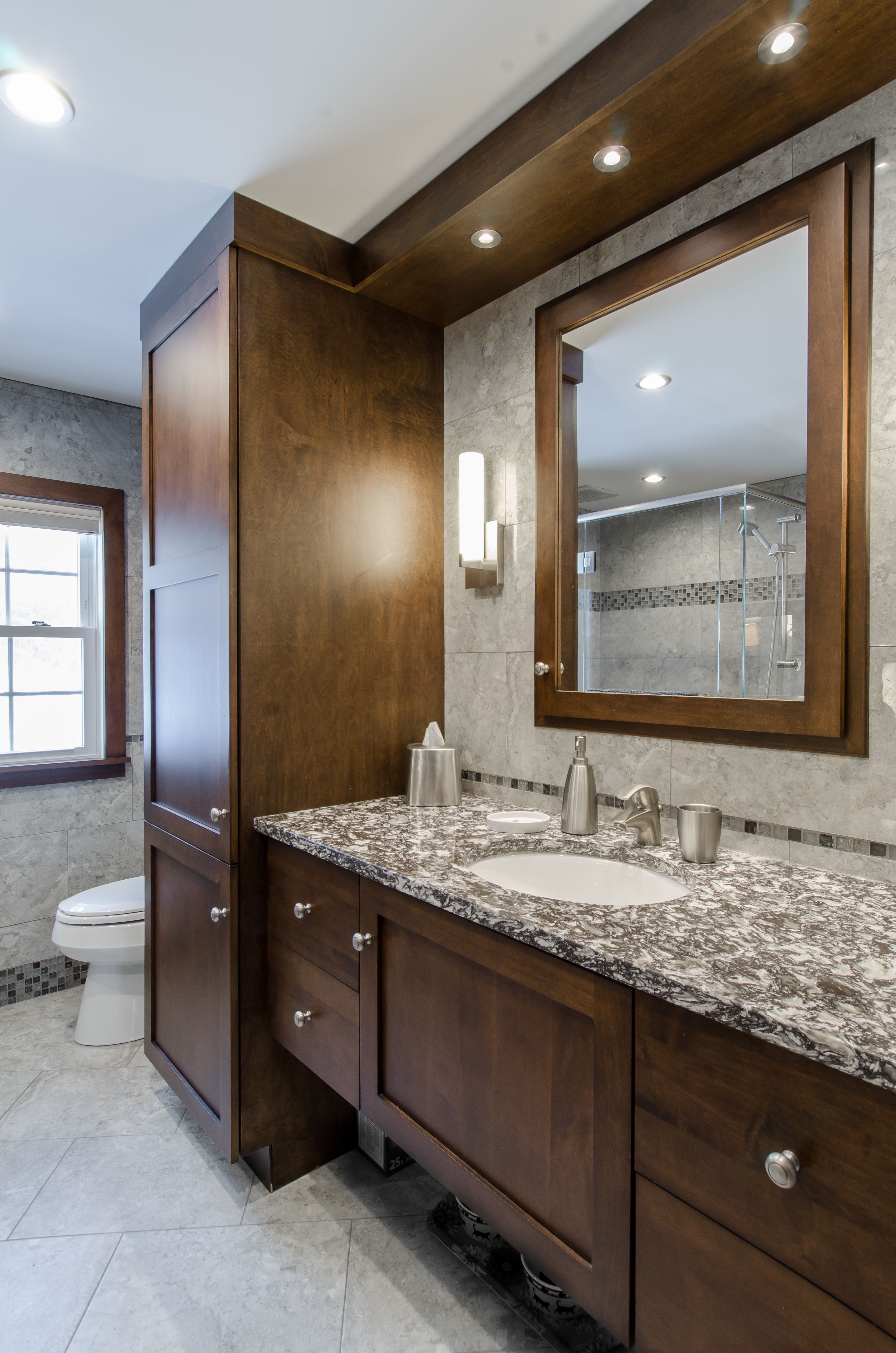 Charmant Bathroom Remodel  Dark Brown Cabinets, Custom Soffit With Built In Lights,  Framed Mirror To Match The Cabinets, Make Up Area, Camrbia Countertop, ...