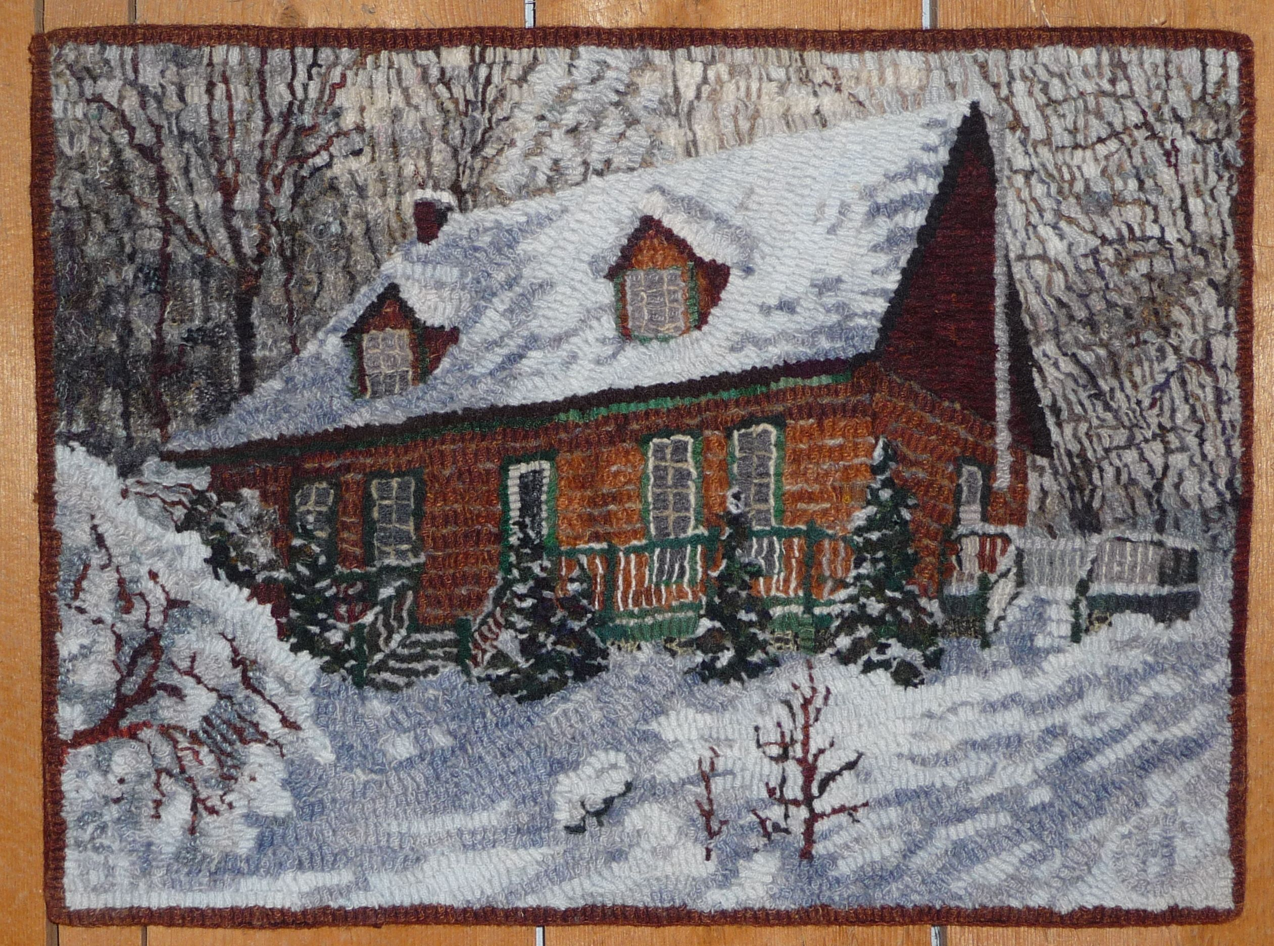 Great snow hooked by  Cathy Henning   Burlington, Ontario Canada (Green Mountain Rug Hooking Guild)