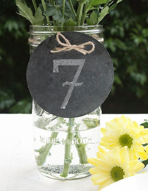 Chalkboard table numbers. Super affordable option!