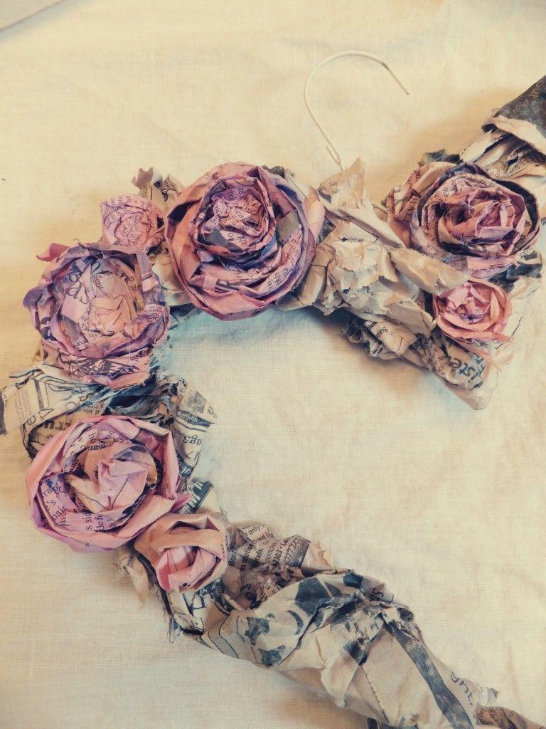 Flower Wreath Tutorial Flowers From Newspaper My Style