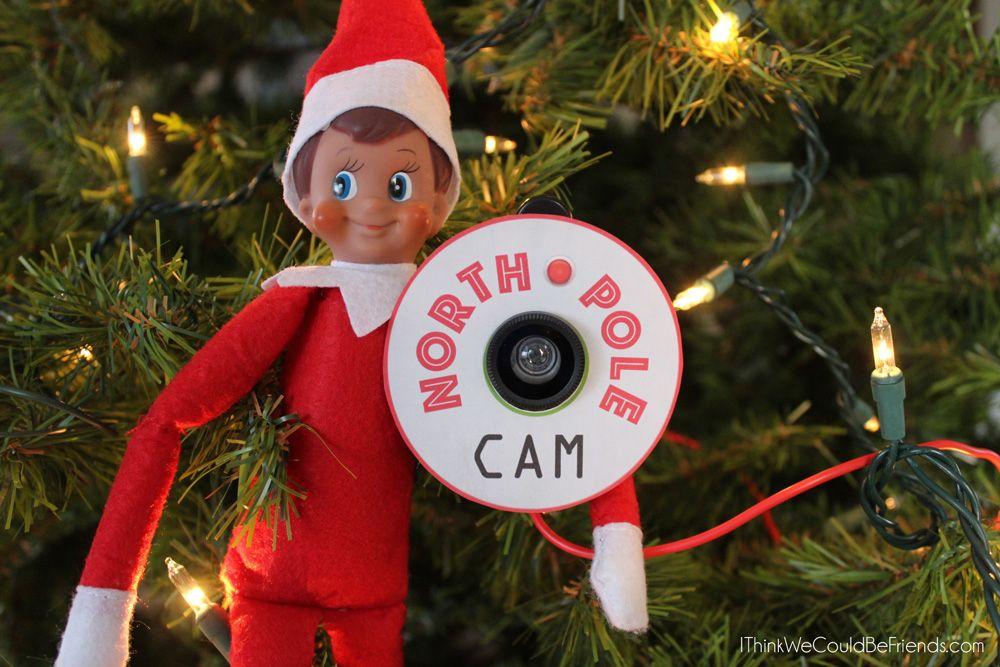 55+ New Elf on the Shelf Ideas: #26 5 Minute Santa or North Pole Cam #elfontheshelfarrival