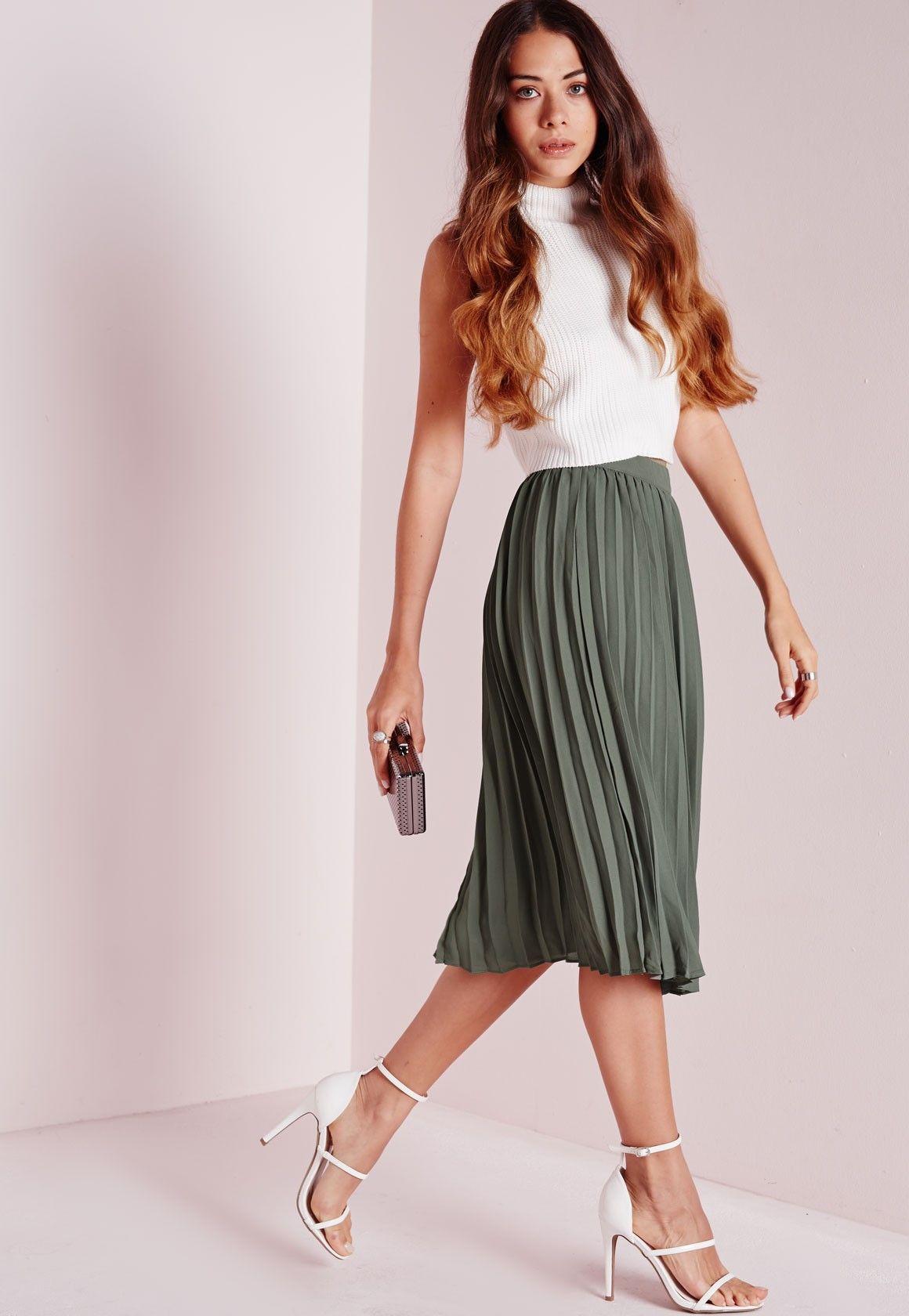 653cd693e1 Pleated Midi Skirt Khaki - Pleated - Midi - Skirts - Missguided ...