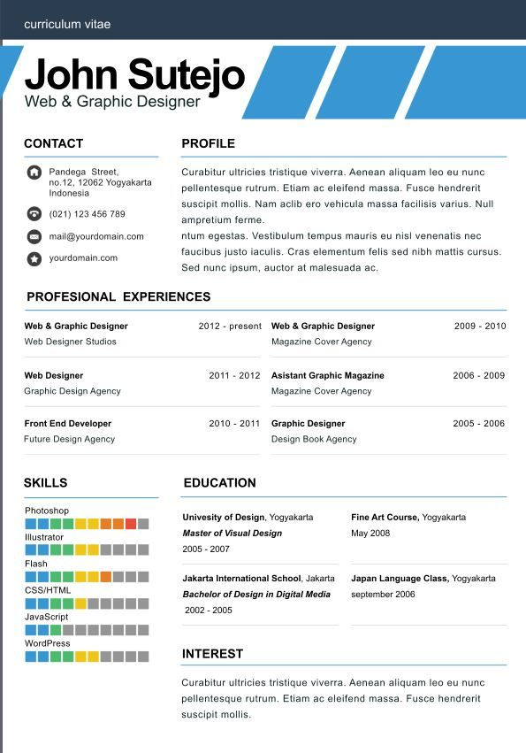 One Page Resume Template Elegante One Page Elegant One Page Resume Template  Tailor Made