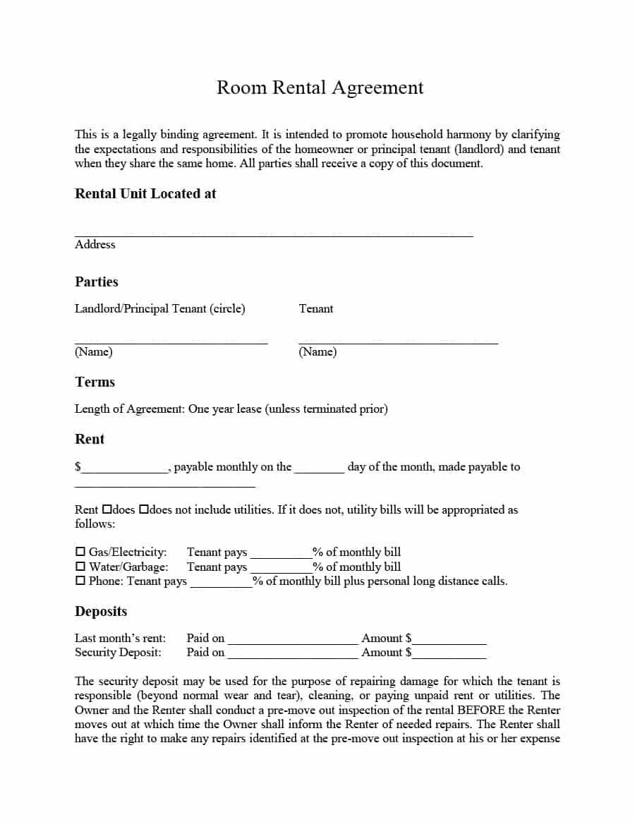 Simple Room Rental Agreement Templates Template Archive Raghu