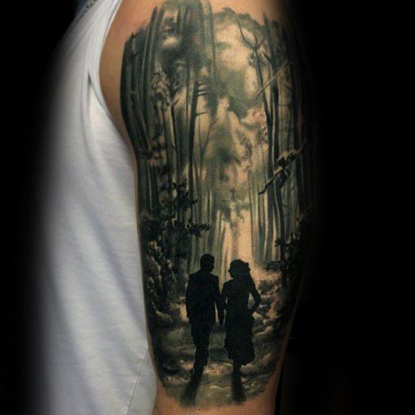 100 forest tattoo designs for men masculine tree ink ideas tattoos pinterest. Black Bedroom Furniture Sets. Home Design Ideas