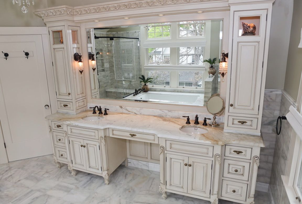 Double Sink Vanities With Makeup Area Master Bathroom Vanity
