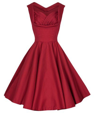 Retro Sweetheart Neck Solid Color Sleeveless Midi Dress For WomenVintage Dresses   RoseGal.com