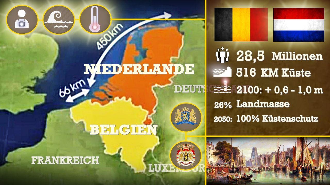 Belgien Und Die Niederlande Der Meeresspiegel Steigt Mit