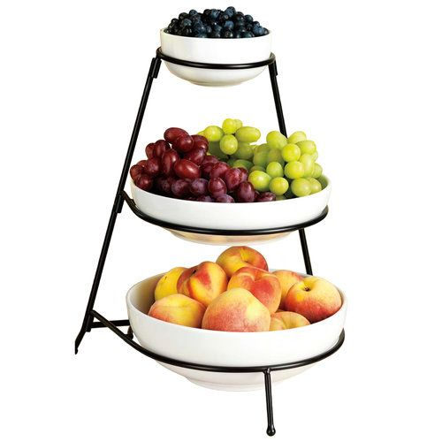 Home Essentials 67012 3 Tier White Essential Bowls With Rack Walmart Com Tiered Fruit Basket Entertaining Dishes Serving Bowl Set