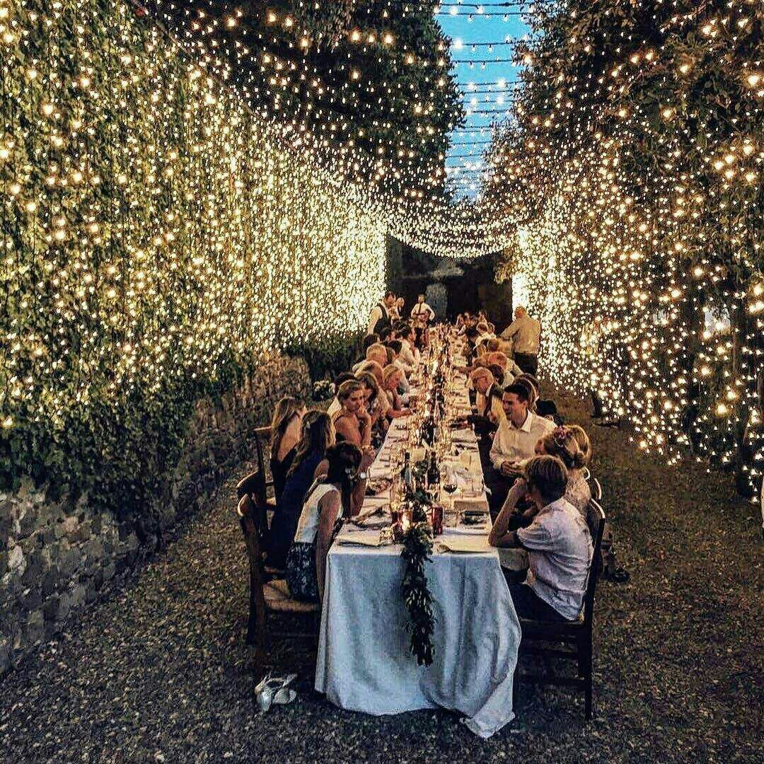 15 Spectacular Rustic Exterior Designs That You Must See: Celebrations Events Wedding Reception Twinkle Lights