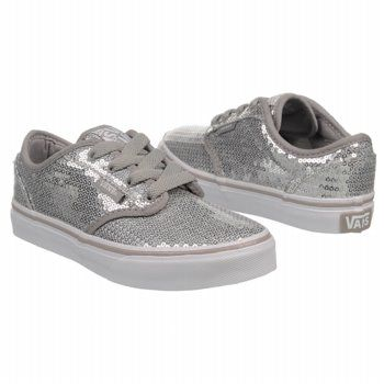 a72871270d6 Athletics Vans Kids  Atwood Silver Sequins White FamousFootwear.com ...