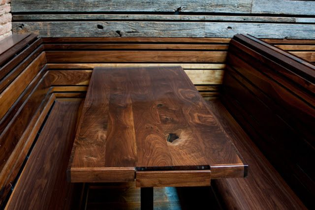 restaurant booth table with built in beer menu
