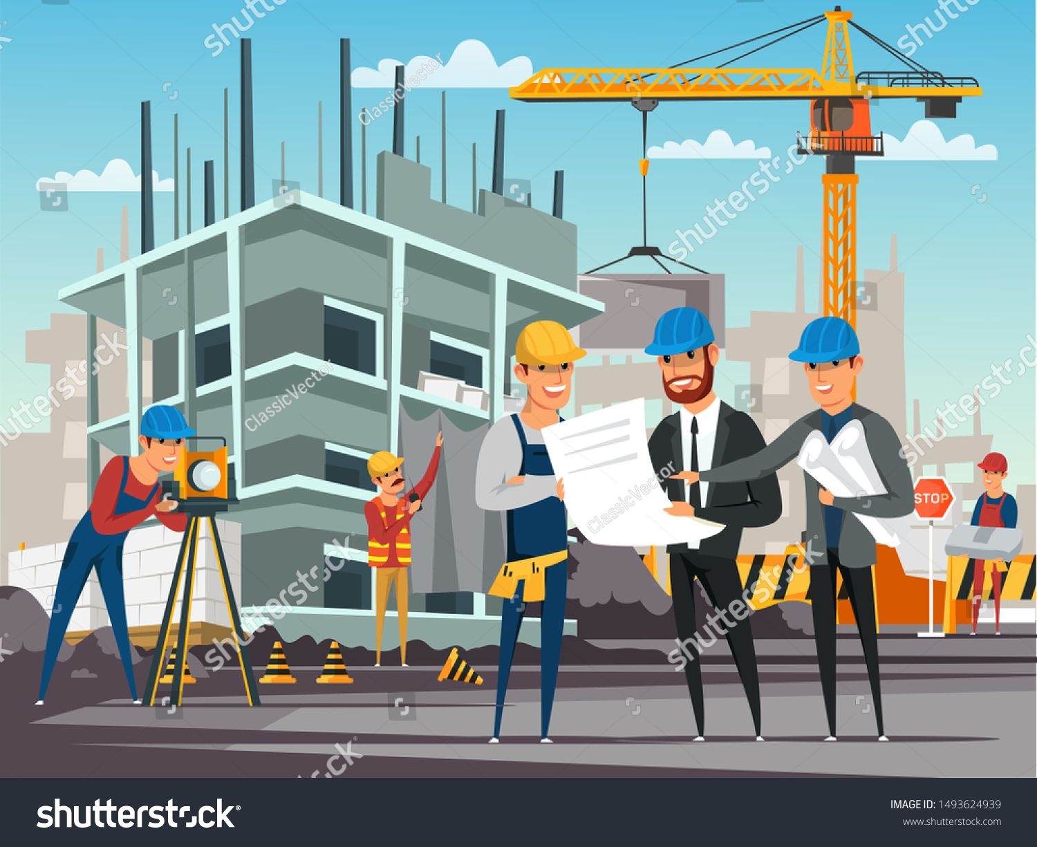 Building Under Construction Flat Illustration Foreman And Architects Discussing Architectural Project Builders O Flat Illustration Stock Photos Photo Editing